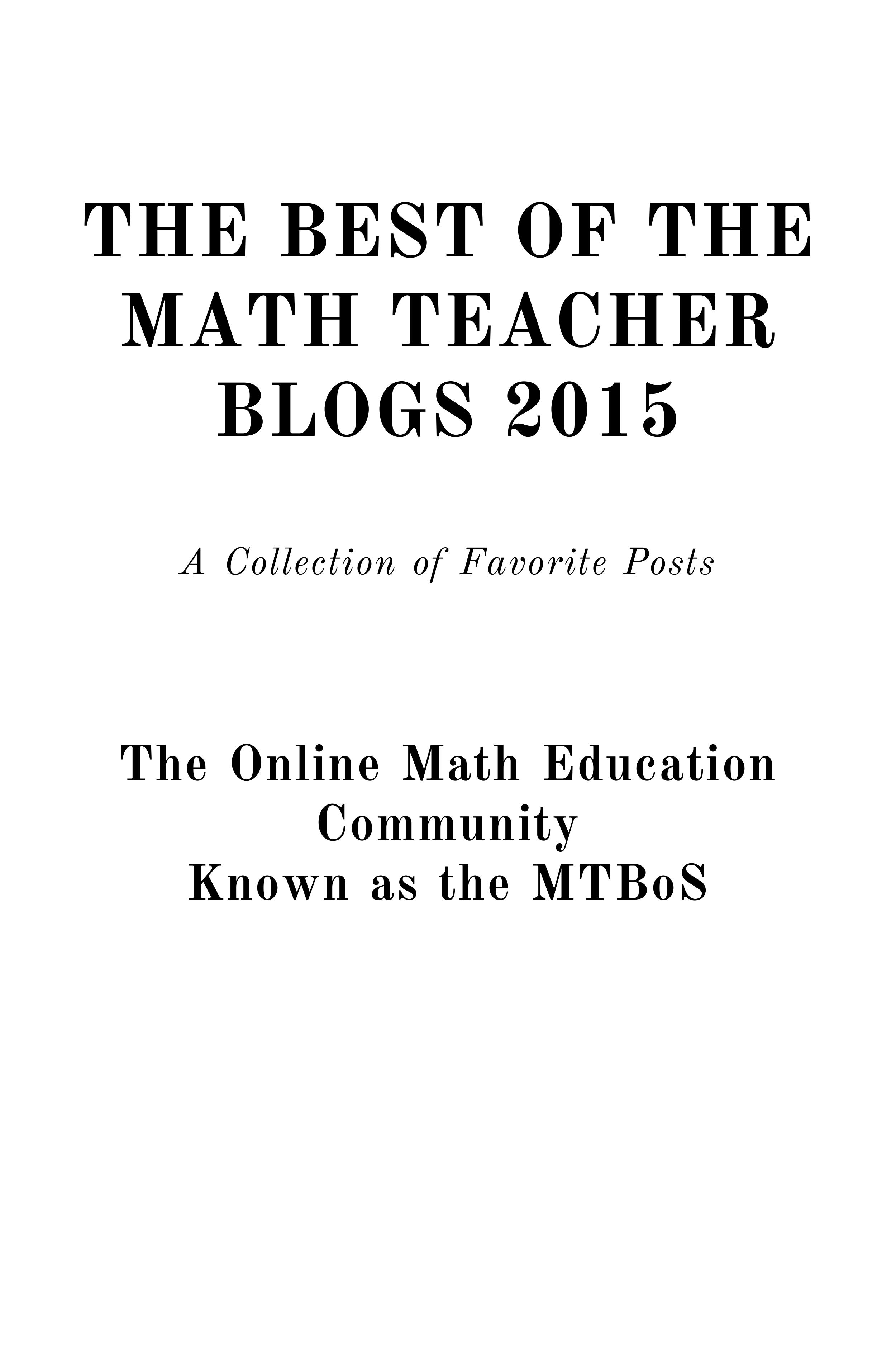 Cover image for The Best of the Math Teacher Blogs 2015